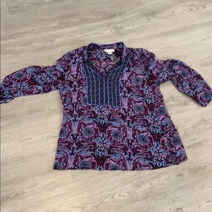 Soft Surroundings Silk Whispy Floral Top 1X
